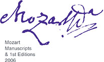[Mozart Manuscripts and First Editions Exhibit 2006]